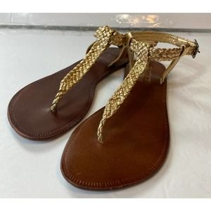 Chelsea Gold Braid Leather Sandals